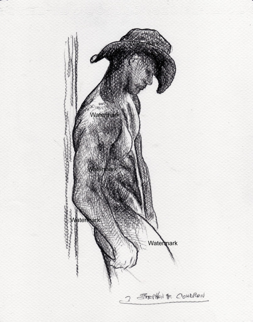 Charcoal pencil drawing of nude cowboy leaning with hat.
