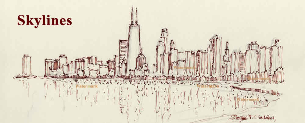 Chicago skyline pen & ink drawing on Lake Shore Drive with John Hancock Center.