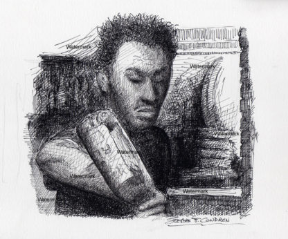 Pen & ink drawing of a young male bartender pouring drinks from a bottle in a dimly lit bar.