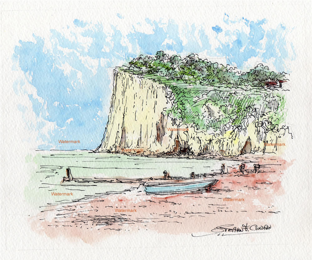 Watercolor of the cliffs and shores of St. Margaret's Bay in Nova Scotia.