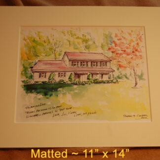Matted house portrait by artist Stephen F. Condren.