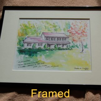 Framed watercolor house portrait by artist Stephen F. Condren.