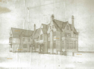 Architectural rendering of the Loeb Mansion from the murder trial of Leopold and Loeb by artist Stephen F. Condren.