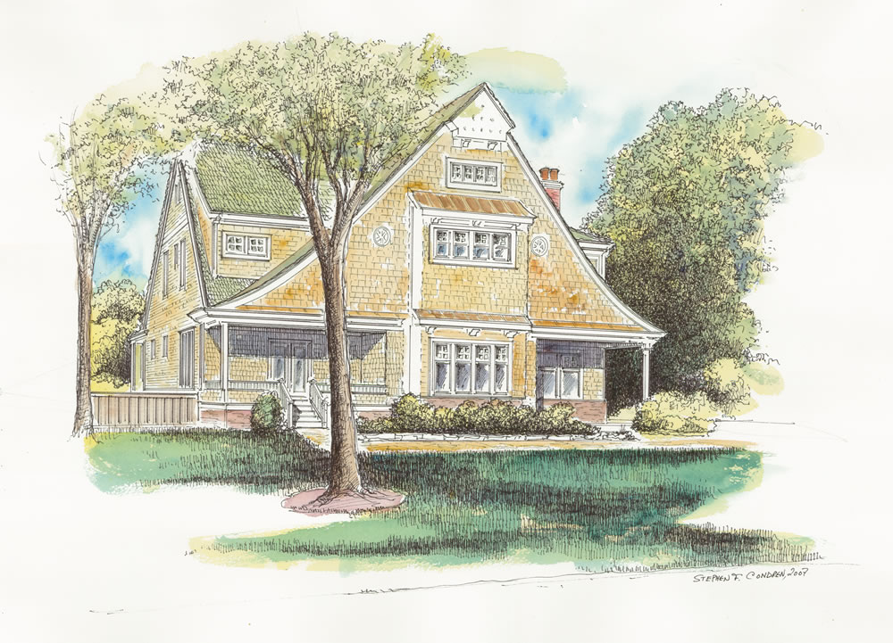 Watercolor architectural rendering of a single family home.