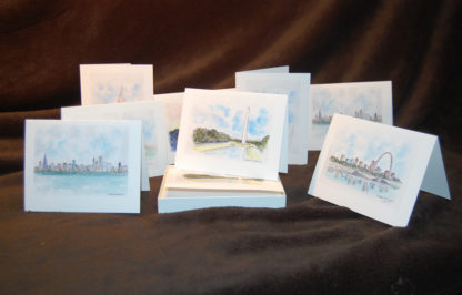 Note cards of city skylines.