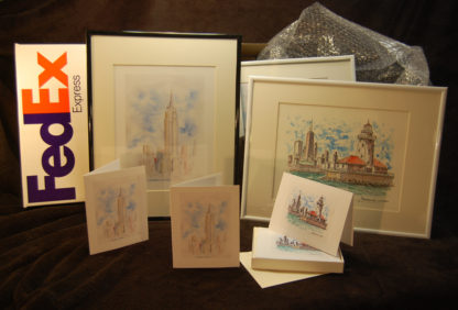 Note cards and prints of famous city skylines by artist Stephen F. Condren.