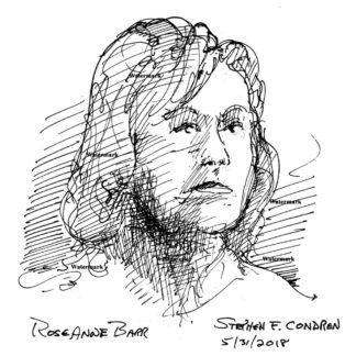 Pen & ink celebrity art drawing of actress Roseanne Barr by artist Stephen F. Condren.