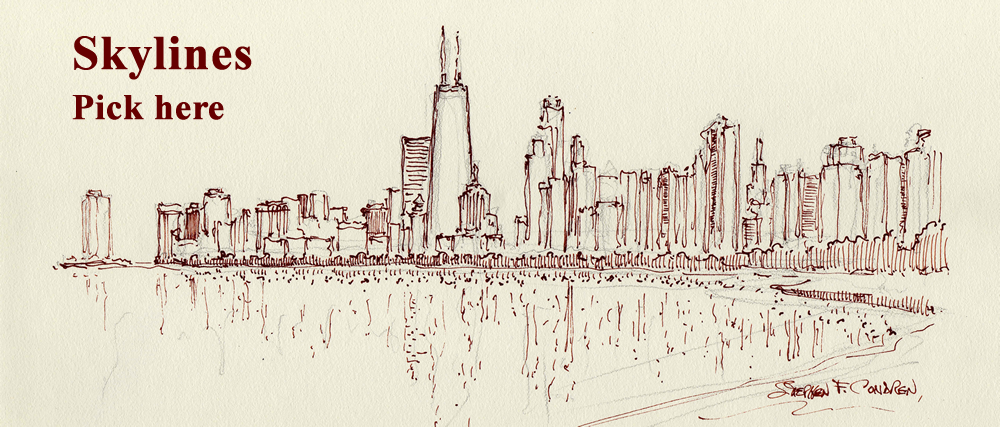 Chicago skyline pen & ink drawing by artist Stephen F. Condren.