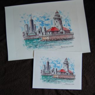 Chicago Harbor Lighthouse and skyline watercolor painting