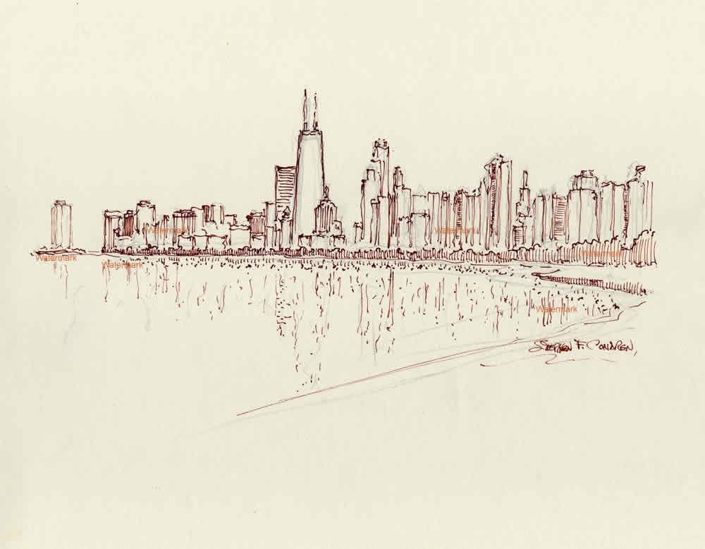 Chicago skyline pen & ink 6/24/2018D