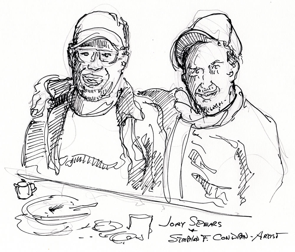 Jory Spears and Stephen F. Condren pen & ink drawing by artist Stephen F. Condren. Jory is a boyhood friend from the Jackson Park Highlands.