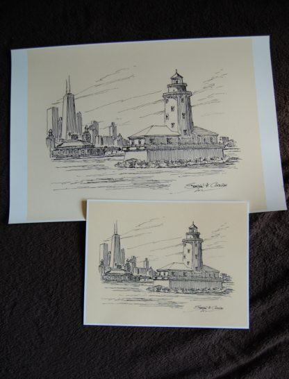 Chicago Harbor Lighthouse and skyline pen & ink