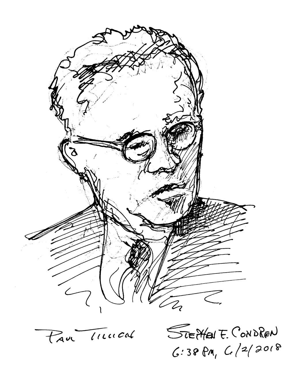 Paul Tillich #127Z, Theologian, pen & ink drawing by artist Stephen F. Condren, of Condren Galleries.