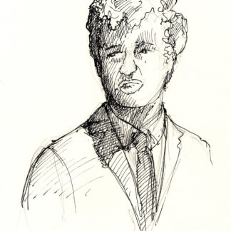Conrad Hilton #2418A pen & ink celebrity portrait with dark cross-hatching, and contour lines.