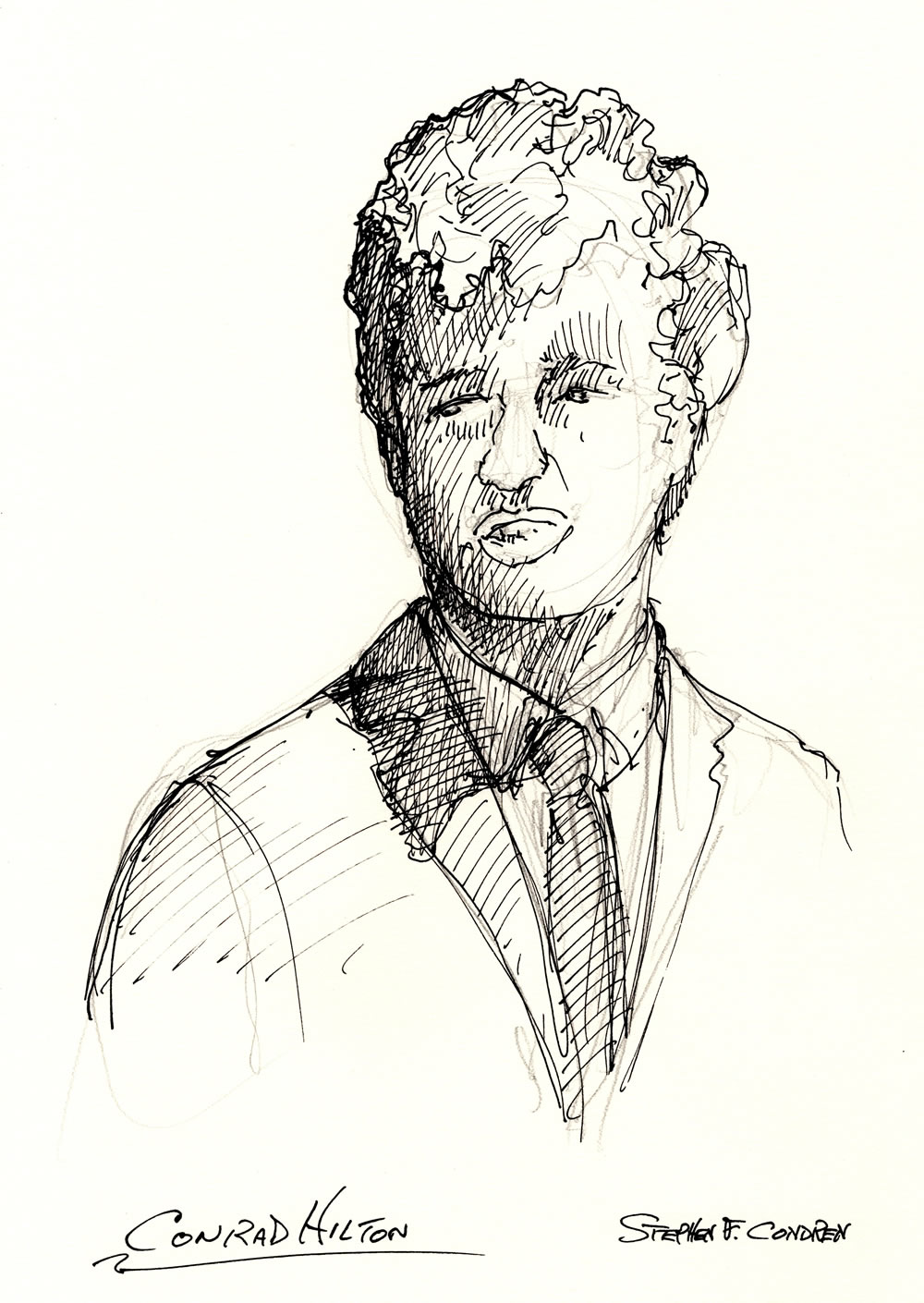 Conrad Hilton celebrity art pen & ink drawing