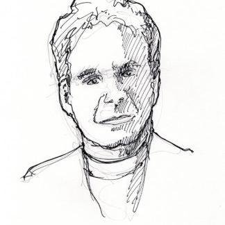 Charles Krauthammer #2415A pen & ink celebrity portrait of his fine features done with contour lines.