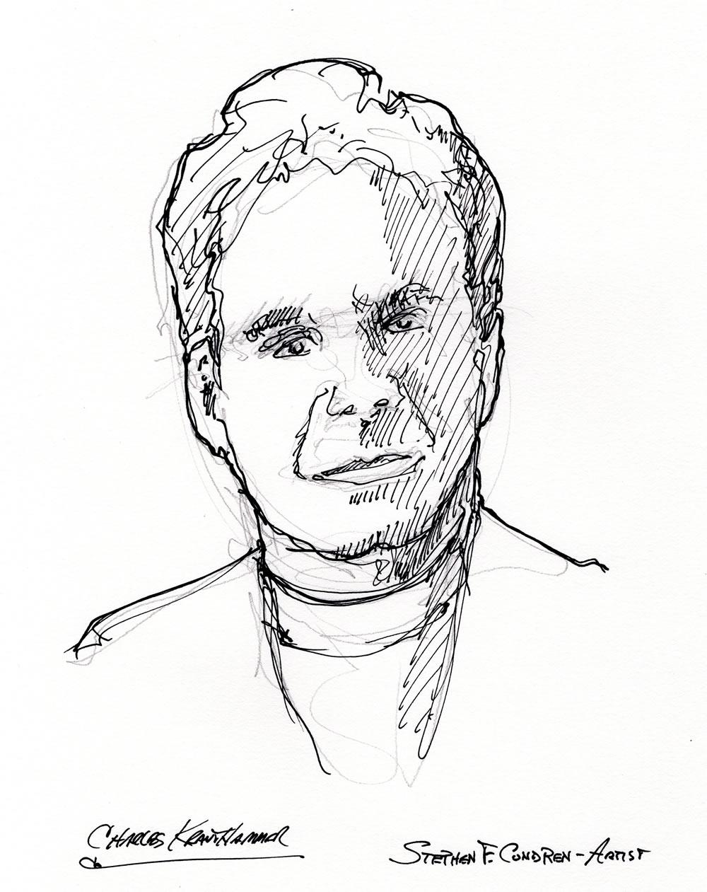 Charles Krauthammer celebrity art pen & ink drawing