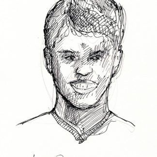 Jackson Odell #2411A pen & ink celebrity portrait with smile and nice hatched lines.