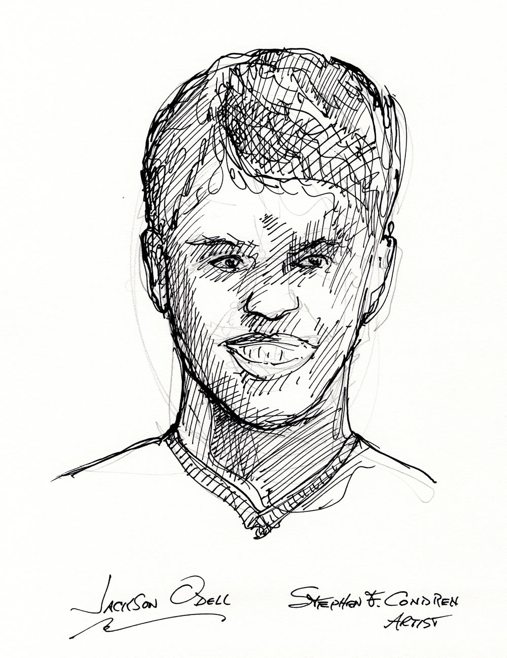 Jackson Odell celebrity art pen & ink drawing
