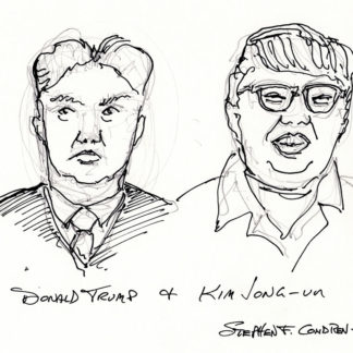 Donald Trump #2410A and Kim Jong-un pen & ink President drawing with comic spoof on their hair.