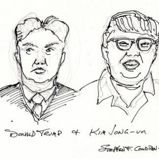 Donald Trump and Kim Jong-un celebrity art pen & ink drawing