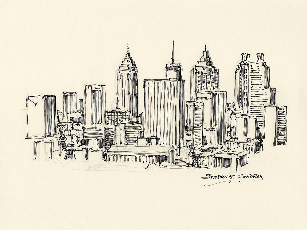 Atlanta skyline pen & ink 6/24/2018E
