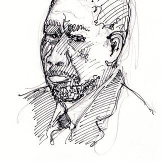Morgan Freeman celebrity art pen & ink drawing