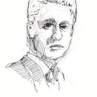 Bill Clinton #2425A pen & ink President portrait with shading made of hatching lines.