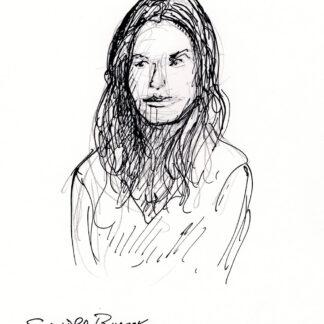 Sandra Bullock celebrity art pen & ink drawing
