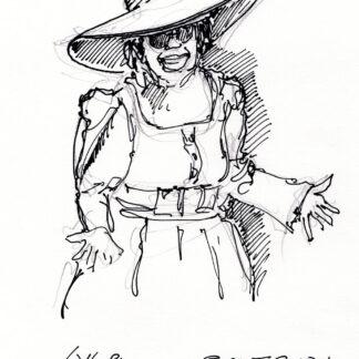 Whoopi Goldberg celebrity art pen & ink drawing