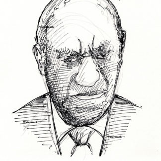 Bill Cosby #2409A pen & ink celebrity portrait with jacket and tie.