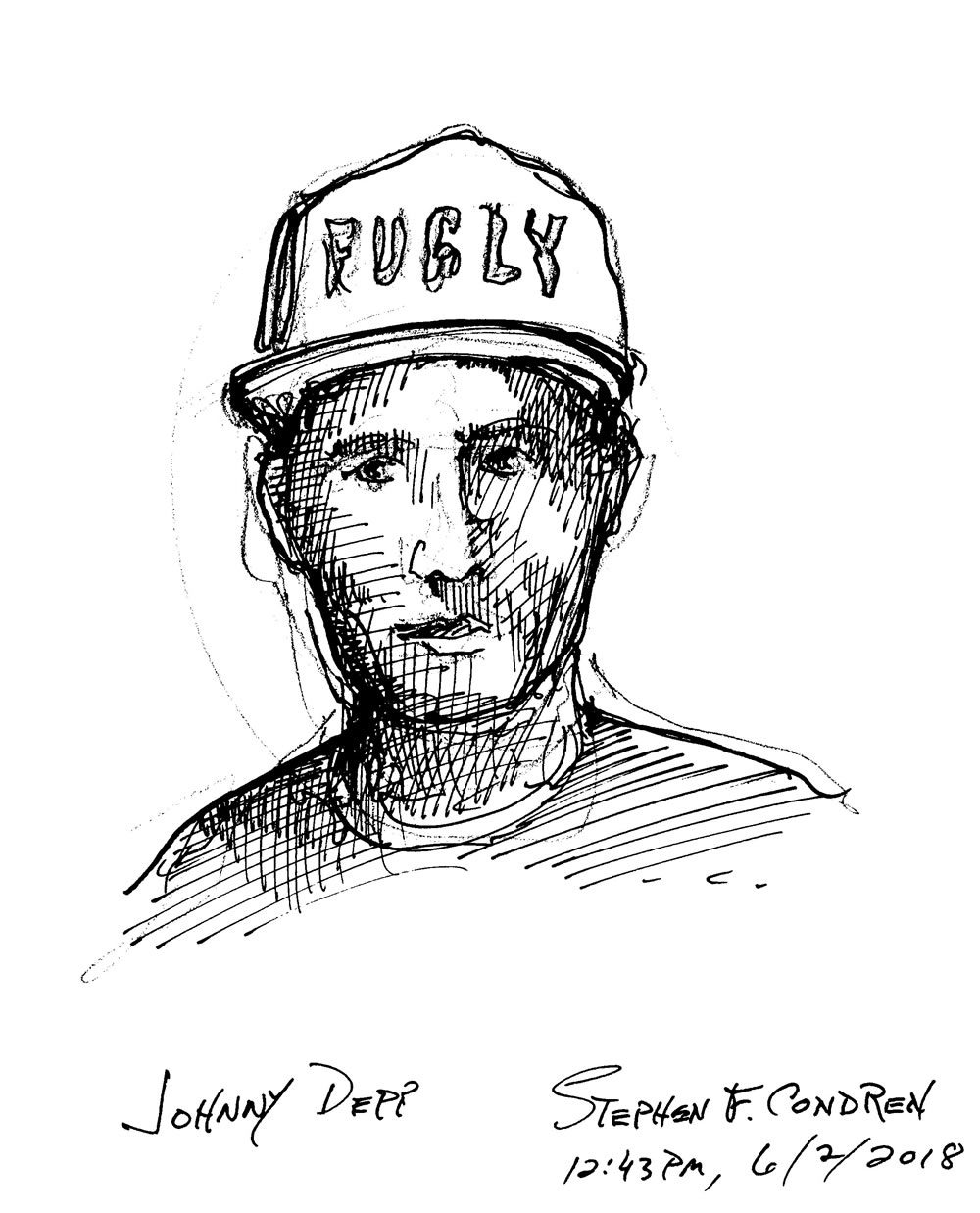 Johnny Depp celebrity art Pen & Ink Drawing By Stephen F. Condren