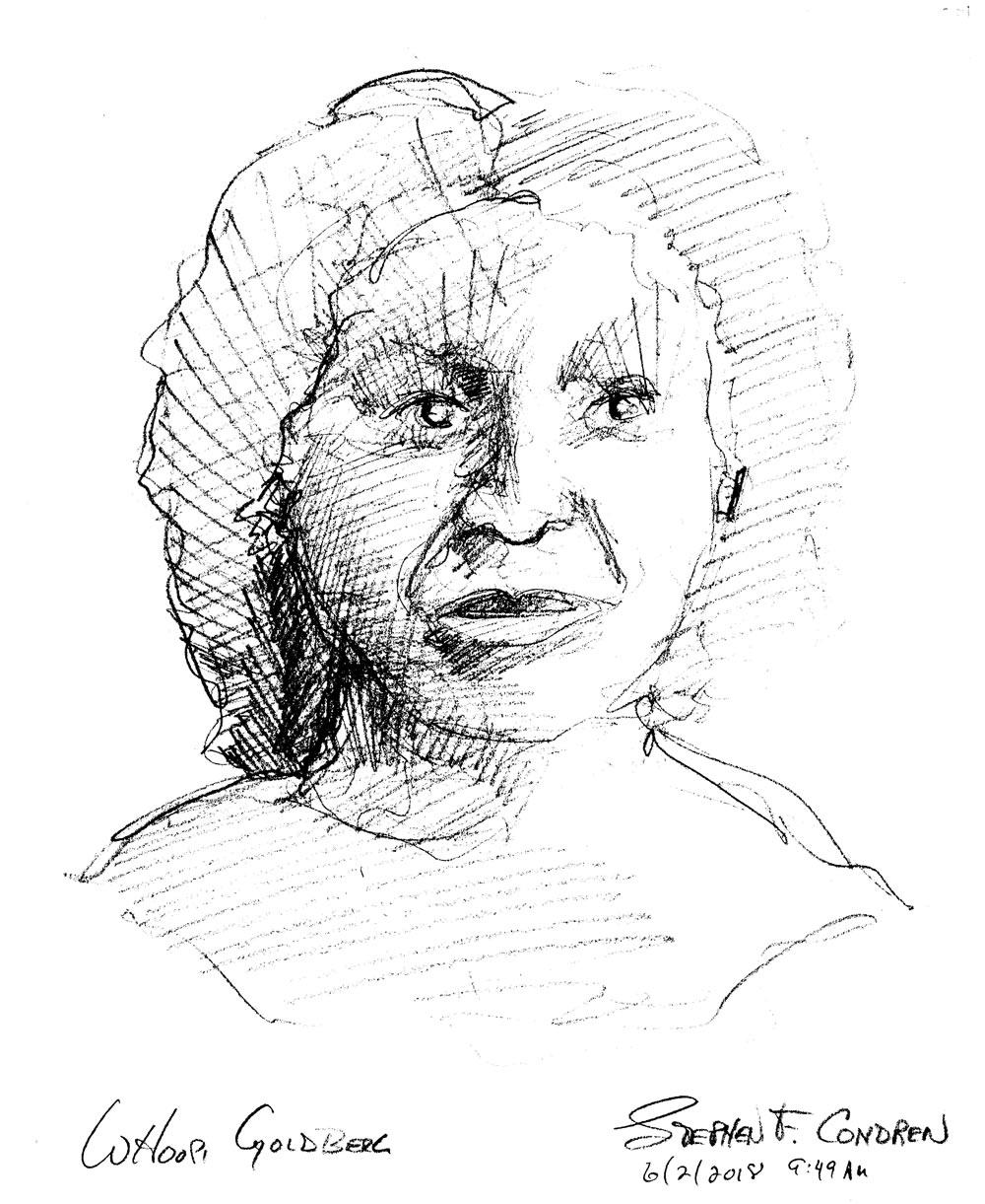 Whoopi Goldberg celebrity art Pencil Drawing By Stephen F. Condren