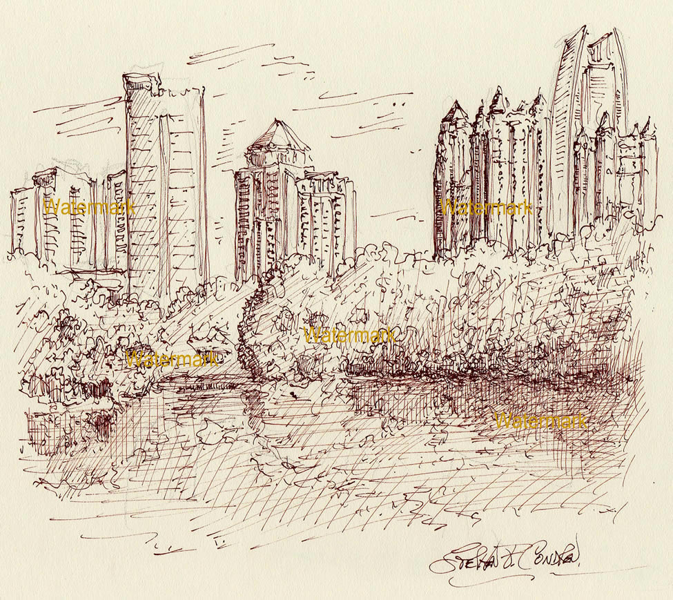 Atlanta skyline pen & ink 6/28/2018B