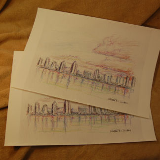 San Diego skyline color pencil drawing prints