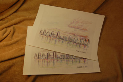 San Diego skyline color pencil drawing prints