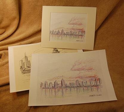 Large skyline pen & ink drawing prints