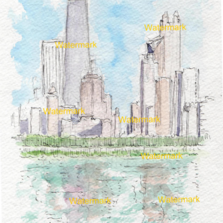 Chicago skyline watercolor of the near north side.