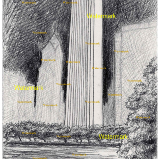 Aon Center pencil drawing at night by Stephen F. Condren.