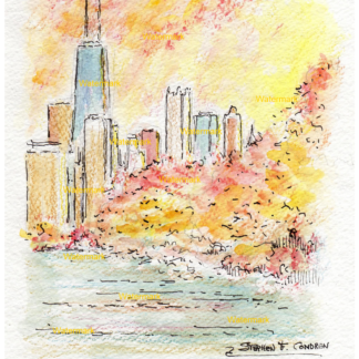 Chicago skyline watercolor at sunset by Stephen F. Condren.