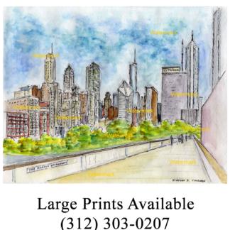 Chicago Nichols Bridgeway #2449A pen & ink, cityscape watercolor of Millennium Park.