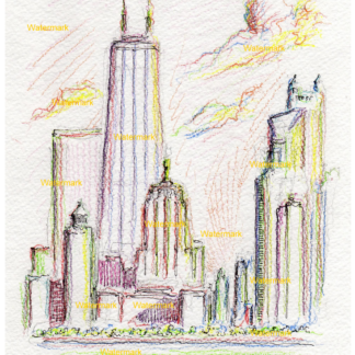 Chicago skyline color pencil drawing at sunset by Condren