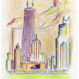 Chicago skyline watercolor & pencil drawing by Condren.