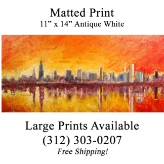 Chicago skyline oil painting at sunset.