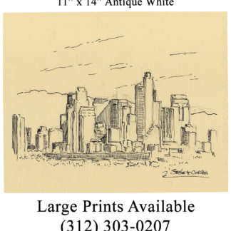 Los Angeles skyline pen & ink drawing by Condren.