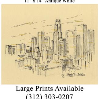 Los Angeles skyline pen & ink drawing by Condren.