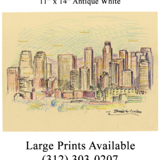 Los Angeles skyline color pencil drawing of downtown.