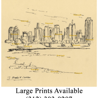 Pen & ink drawing of downtown Dallas Skyline.