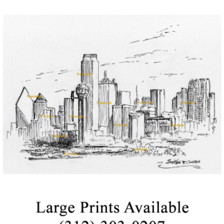 Dallas skyline pen & ink drawing with Reunion Tower.