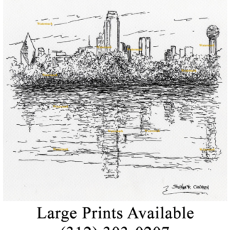 Dallas skyline pen & ink drawing on the Trinity River.